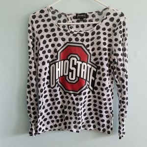 3/$20 GAMEDAY Couture OSU graphic polka dot top